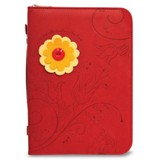 Floral Bible Cover, Red with Yellow and Orange Flower, Medium