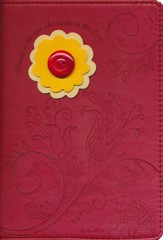 Floral Journal, Red with Yellow and Orange Flower