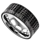 Christ My Strength Sport Men's Ring Black, Size 10 (Philippians 4:13)