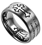 His Strength, Neo Cross Scripture Ring, Silver, Size 8