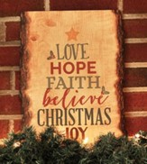 Love, Hope, Faith Rustic Bark Wall Art