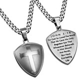 John 3:16 Shield Cross Necklace, Silver