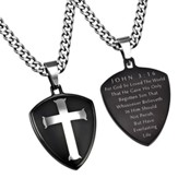 John 3:16 Shield Cross Necklace, Black