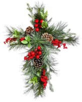 Holly and Pinecone Floral Wall Cross