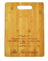 Personalized, Bamboo Cutting Board, With Cut Out Handle Taste and See