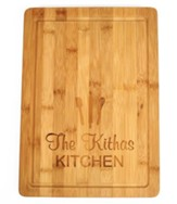 Personalized, Bamboo Cutting Board, with Utensils,Large