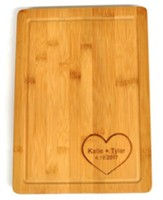 Personalized, Bamboo Cutting Board, with Heart, Large