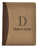 Personalized, Leather Padfolio with Monogram, Tan