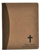 Personalized, Leather Padfolio, with Cross, Tan