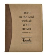 Personalized, Padfolio, Leather, Trust in The Lord,   Brown and Tan
