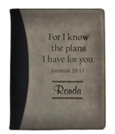 Personalized, Leather Padfolio, For I Know The Plans, Black and Grey
