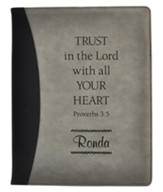 Personalized, Padfolio, Leather, Trust in the Lord, Black and Grey