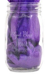 Personalized, Mason Jar, 16 Ounces, God Bless This Home
