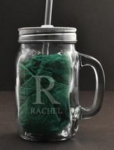Personalized, Mason Jar, with Handle and Straw, 15  Ounces, Monogram