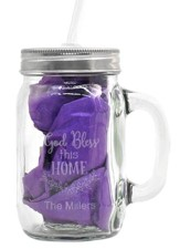 Personalized, Mason Jar, with Handle and Straw God Bless This Home