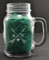 Personalized, Mason Jar, with Handle, 22 Ounces, with Arrows