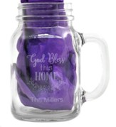 Personalized, Mason Jar, with Handle 22 Ounces God Bless This Home