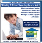 Math Adaptive Placement Test with  Individualized Lesson Plan  for 1 Student, 3 Months Subscription (Grades K1 through  Pre-Algebra)