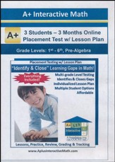 Math Adaptive Placement Test with  Individualized Lesson Plan  for 3 Students, 3 Months Subscription (Grades K1 through  Pre-Algebra)