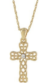 Cross with Heart Necklace