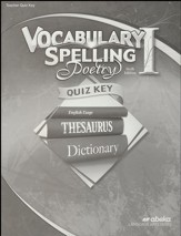 Abeka Grade 7 Vocabulary, Spelling, Poetry 1 Quizzes Key  (6th Edition)