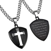 Armor of God Shield Cross Necklace, Black