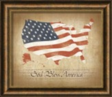 God Bless America, Flag Map, Framed Art