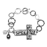 Matthew 19:26 Sideways Cross Bracelet
