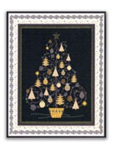 Gold and Silver Christmas Tree Christmas Cards, Box of 18