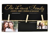Personalized, Photo Pallet, With Clothespins, Pine,  Black, Family