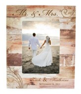 Personalized Mr & Mrs Wedding Photo Frame, Light Brown 10.75