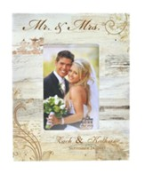 Personalized Mr & Mrs Photo Frame, Wedding, White 9.5