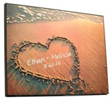 Personalized, Plaque with Heart in Sand, Large