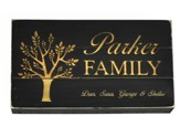Personalized, Pine Tabletop Sign, Long, with Tree,Black