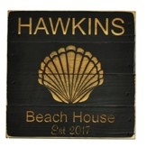 Personalized, Pine Tabletop Sign, Square, with Shell,  Black