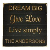 Personalized, Pine Tabletop Sign, Square, Dream Big,  Black
