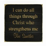 Personalized, Tabletop Sign, Pine, Square, I Can Do All Things, Black