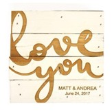Personalized, Pine Tabletop Sign, Sqaure, Love You,   White