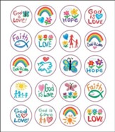 120 Faith Kid-Drawn Christian Shape  Stickers