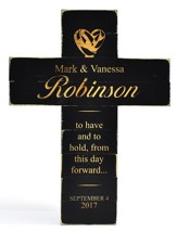 Personalized, Pine Cross, Wedding, Large, Black