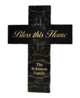Personalized, Pine Cross, Large, Bless This Home, Black
