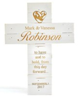 Personalized, Pine Cross, Wedding, Large, White