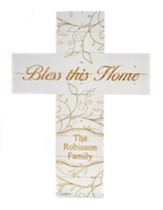 Personalized, Pine Cross, Large, Bless This Home, White