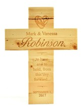 Personalized, Natural Pine Cross, Wedding, Large