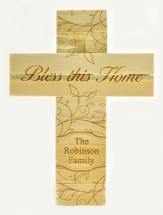 Personalized, Pine Cross, Large, Bless This Home,  Natural