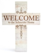 Personalized, Wood Cross, Welcome, White