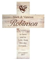 Personalized, Wooden Cross, Wedding, White