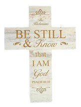 Personalized, Wood Cross, Be Still, White