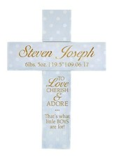 Personalized, Cross With Polka Dots, To Love and  Cherish, Blue