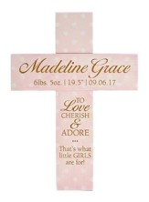 Personalized, Cross With Polka Dots, To Love And Cherish, Pink